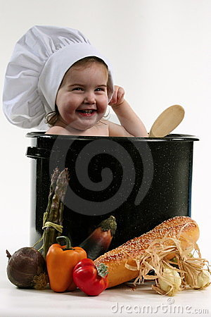 Free Baby In A Chef Pot Stock Photo - 343440