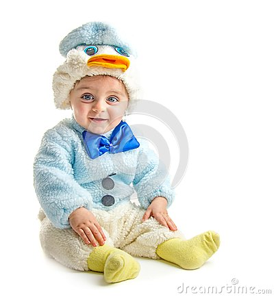Free Baby In Duck Suit Stock Photo - 36702770