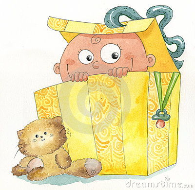 Baby inside a gift box
