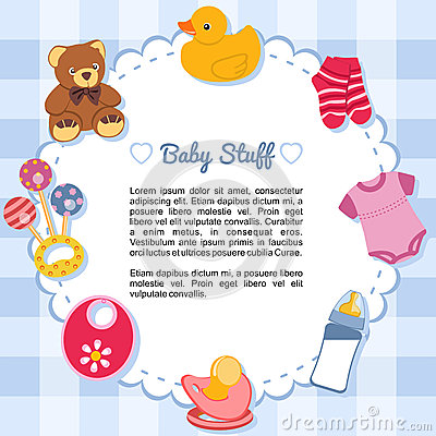 Free Baby Items Forming A Frame Royalty Free Stock Image - 29463976