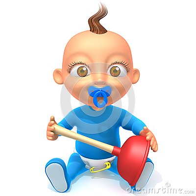 Free Baby Jake With Plunger 3d Illustration Royalty Free Stock Images - 49522429