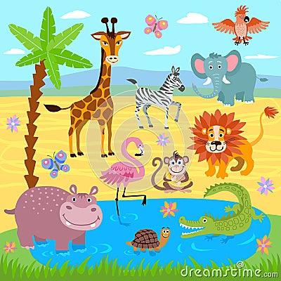 Free Baby Jungle And Safari Zoo Animals Vector Nature Background Royalty Free Stock Photo - 92439495