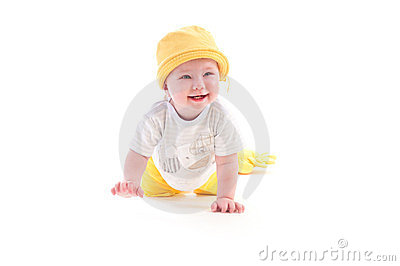 Baby learns to crawl