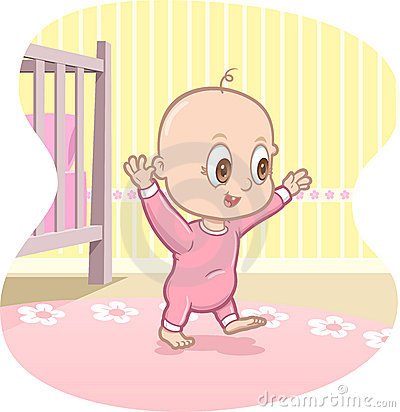 Free Baby Learns To Walk - Vector Cartoon Stock Photography - 12736302