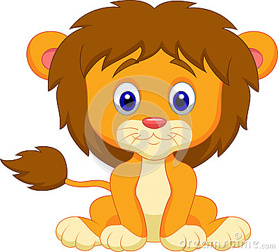 Free Baby Lion Cartoon Sitting Royalty Free Stock Photography - 33992337