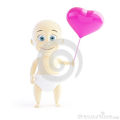 Baby love balloon heart on a white background