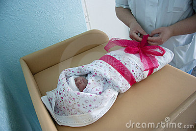 Baby in maternity hospital Editorial Stock Photo