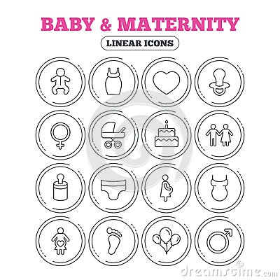 Baby and Maternity line icon. Pacifier, diapers. Vector Illustration