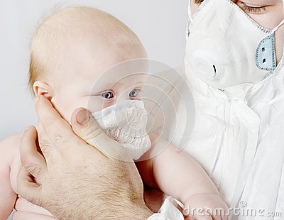 Baby in a medical mask
