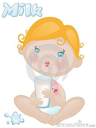 Baby met melk