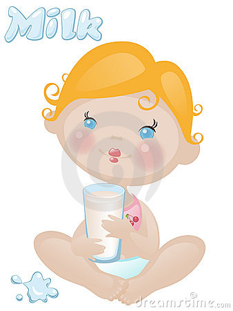 Baby with milk