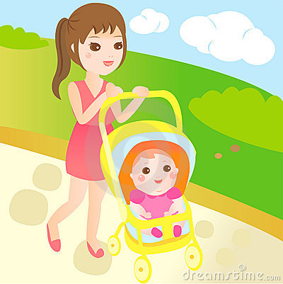 Baby and mom go for a walk