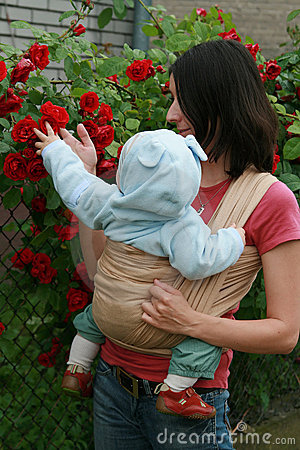 Baby with mom in sling