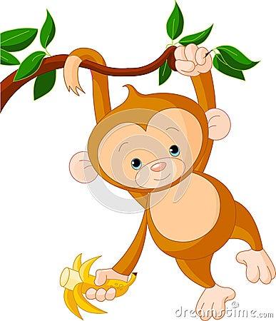Free Baby Monkey On A Tree Stock Photos - 15030783