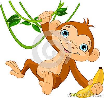 Free Baby Monkey On A Tree Royalty Free Stock Image - 29054016