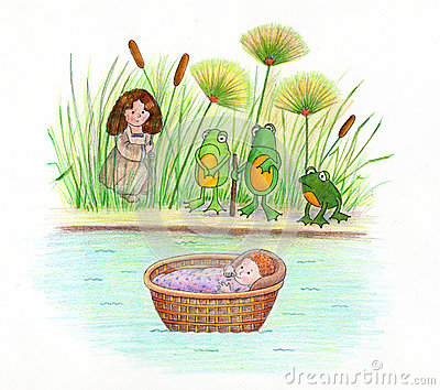 Baby Moses and Frogs