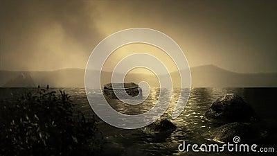Baby Moses im Korb, der in den Nil von Ägypten schwimmt stock footage