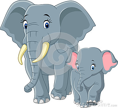 Baby and Mother Elephant Vector Illustration
