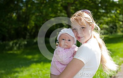 Baby and Mother Outdoors