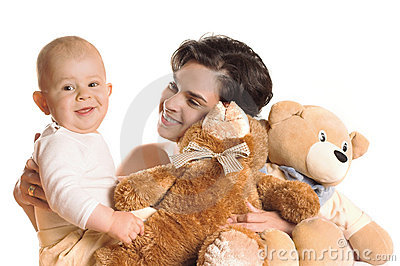 Baby, Mother and teddy bears