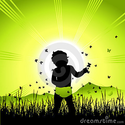 Baby on nature, black silhouette