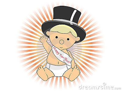 Baby New Year wearing hat sash waving adorable
