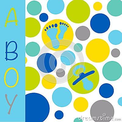 Baby newborn birth announcement card boy with baby feet, dummy a