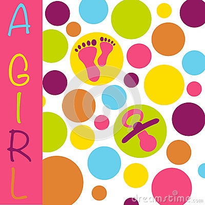 Baby newborn birth announcement card girl with baby feet, dummy