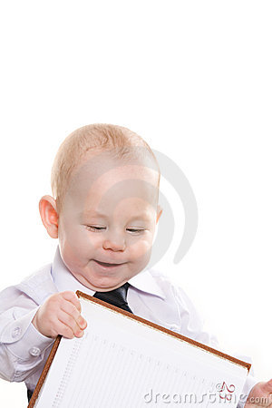 Baby with notepad