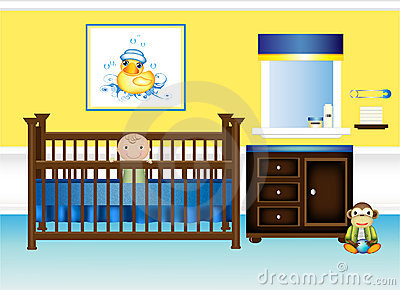 Baby Nursery Bedroom in Yellow and Blue