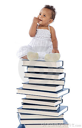 Free Baby On A Book Tower Stock Photo - 3200780