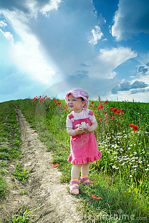 Free Baby On A Lane Amongst A Field Royalty Free Stock Photo - 5501095