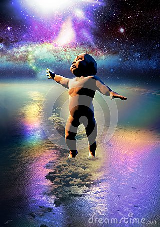 Free Baby On Earth Touching The Stars Stock Photography - 112380602