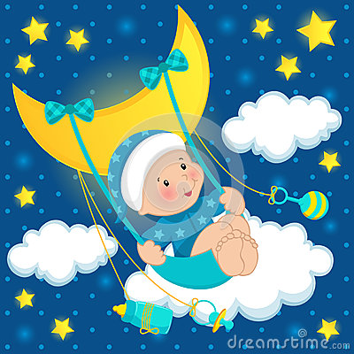 Free Baby On The Moon Vector Stock Photos - 28794913