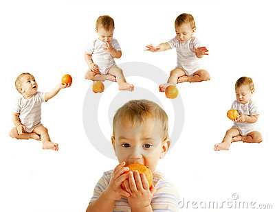 Baby with orange over white