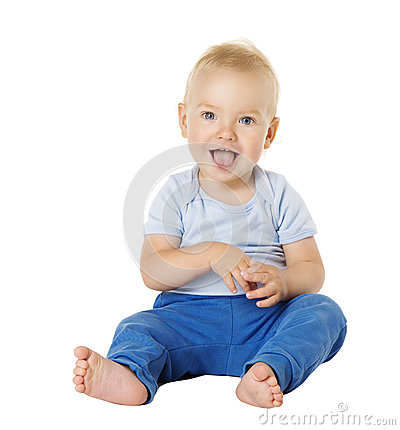 Free Baby Over White Background, Happy Kid One Year, Child Boy Stock Photography - 92127062