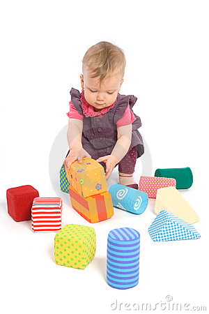 Free Baby Palying With Toy Blocks Stock Images - 4861874