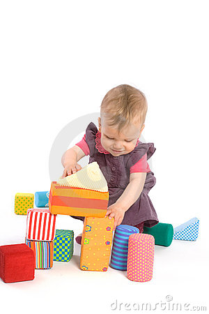 Free Baby Palying With Toy Blocks Royalty Free Stock Images - 7155369