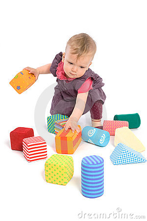 Free Baby Palying With Toy Blocks Royalty Free Stock Image - 7909376