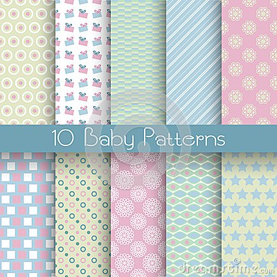 Free Baby Pastel Different Vector Seamless Patterns (tiling) Royalty Free Stock Images - 38735639