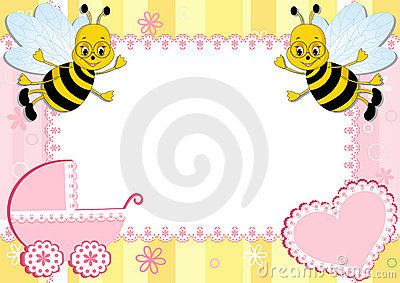 Baby photo frame with bee.