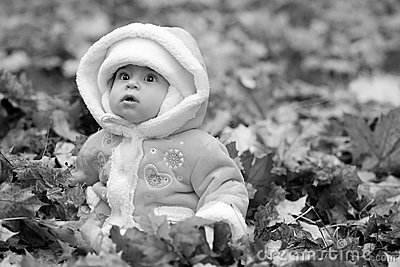 Baby in pile of leaves wearing winter coat