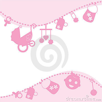Baby pink announcement card