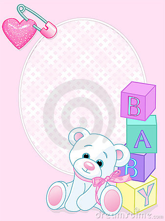 Baby pink arrival card