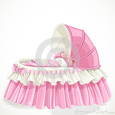 Baby in pink cradle