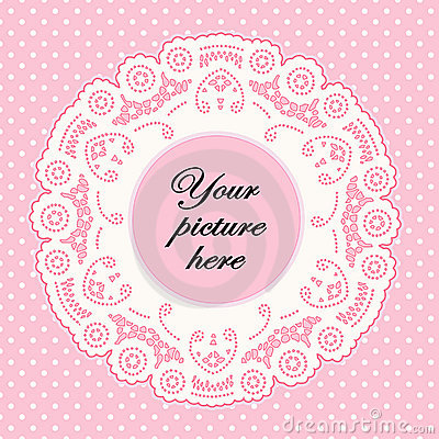 Baby Pink Lace Doily Frame, Polka Dot Background