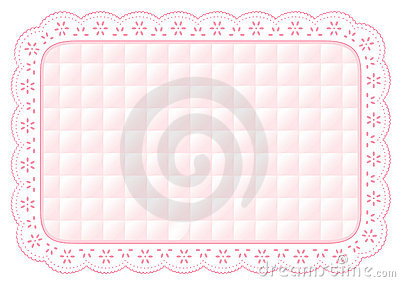 Baby Pink Quilted Eyelet Lace Place Mat