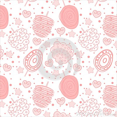 Free Baby Pink Sweet Cotton Pattern On White Background Stock Photos - 115093533