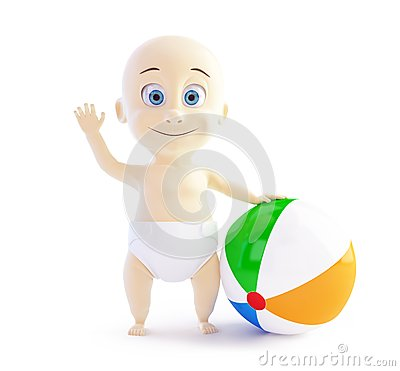 Baby playing with beach Ball