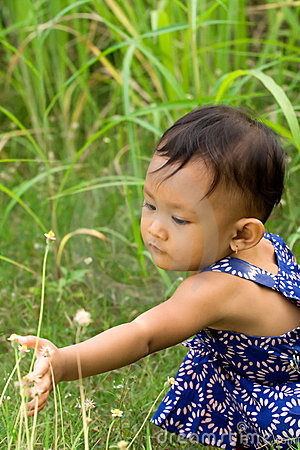 Baby playing outdoor
